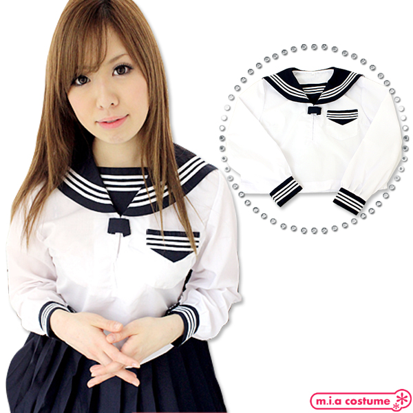 1130B■MB■送料無料■ 中間服セーラーブラウス単品 色:白 サイズ:M/BIG