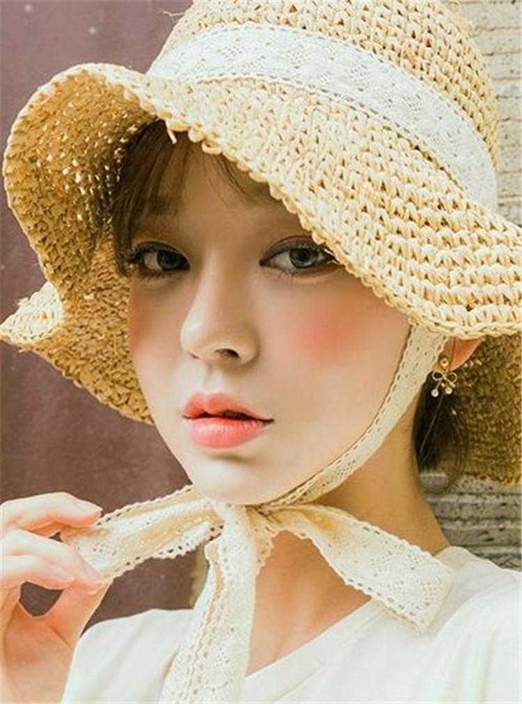 夏 小さい新鮮な レース 大人気 麦わら帽子 韓国語版 トレンド ビーチハット 日よけします 太陽の帽子