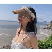草編み帽子 ハット 新作帽子 日よけ帽子 紫外線対策 サンバイザー UVカット帽子