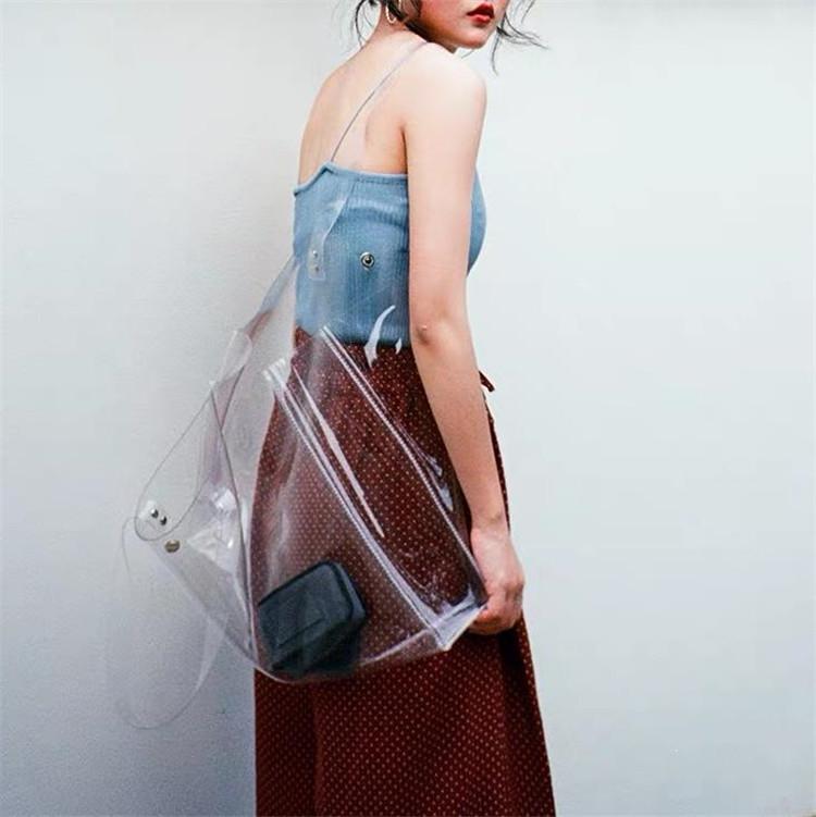 女性なら誰もが憧れる!ゼリーバッグ 夏 気質 トートバッグ 百掛け ショルダーバッグ 大容量 クリア