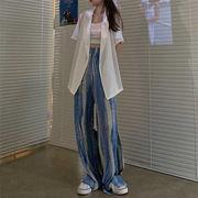 活気に満ちた少女 新品 トレンド ハイウエスト カジュアルパンツ オシャレ 大人気 ワイドレッグパンツ