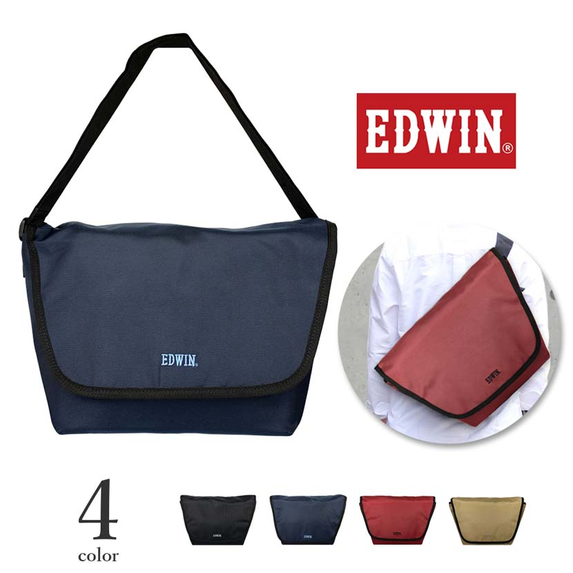 全4色 EDWIN エドウイン ロゴ刺繍 メッセンジャーバッグ ショルダーバッグ