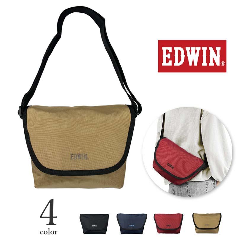 全4色 EDWIN エドウイン ロゴ刺繍 ミニメッセンジャーバッグ ポシェットバッグ