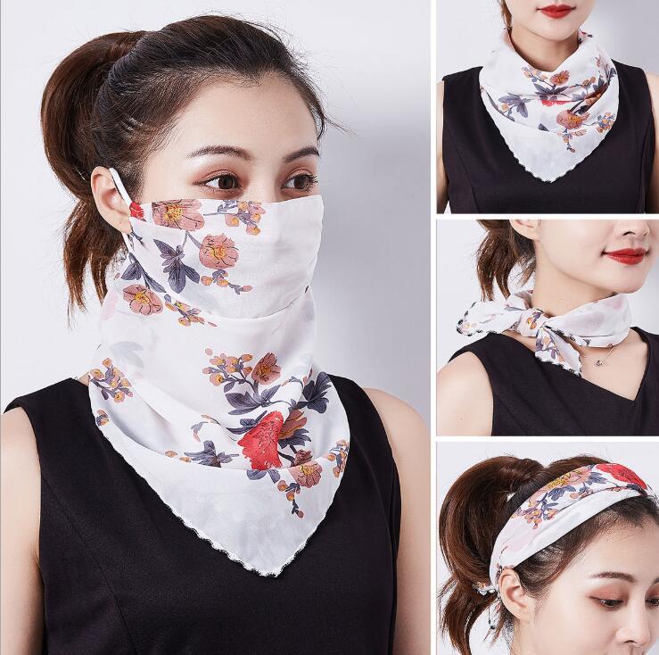 スカーフ 2020新作 レディーススカーフ マスクスカーフ 日焼け止め 防塵 花粉対策 UVカット 30色展開