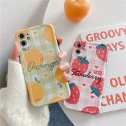 チェック iphoneケース オレンジ TPUケース iphoneSE2 ケース
