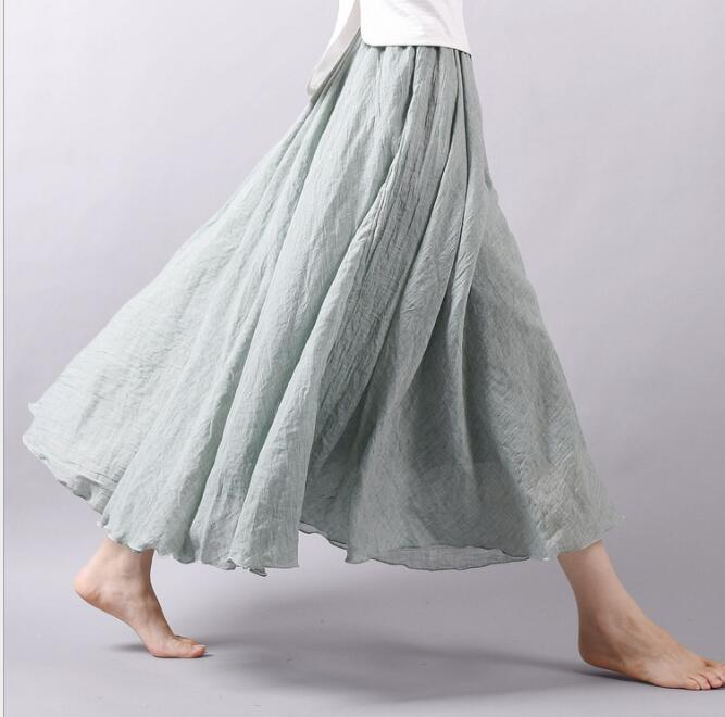 フレアスカート リネン ロングスカート レデイース フレア リネンスカート 亜麻 綿麻混 スカート