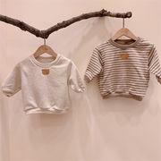 全2色  女の子男の子 長袖スウェットトップス Tシャツ ラウンドネック ボーダー柄 ベビー キッズ