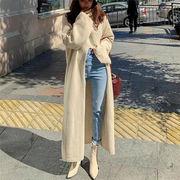 形がとてもきれい 韓国ファッション sweet系  ニットワンピース 羽織り フリル スリット 体型カバー 着痩せ