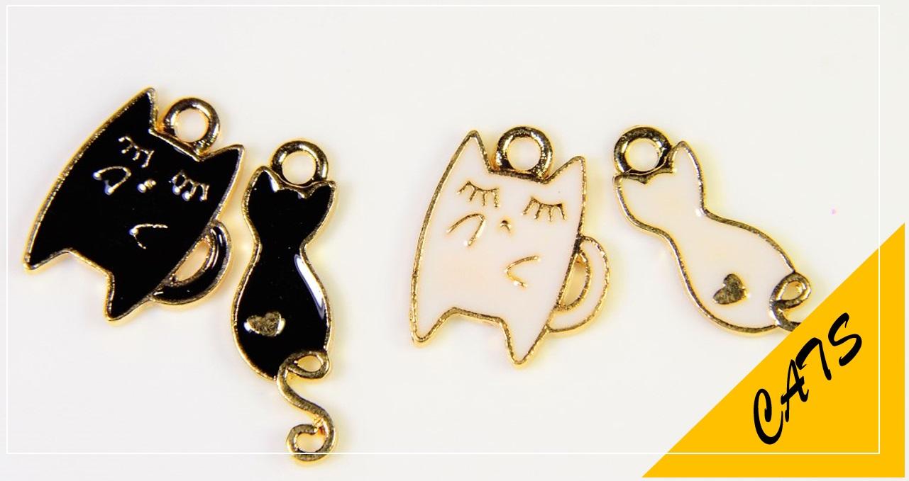 カラーチャーム/エポチャーム/猫パーツ/猫雑貨/トレンドパーツ/白黒調パーツ