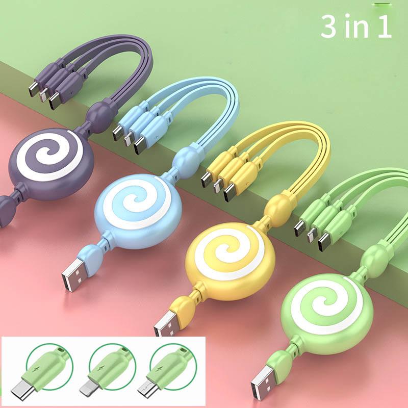 スマホ 充電ケーブル 3in1 Lightning/Type C/Micro USBケーブル 多機種対応 4色 充電 耐久 1.0m