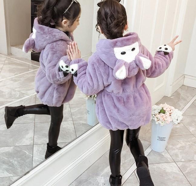キッズ もこもこ ファーコート うさぎ耳 可愛いキッズ防寒コート