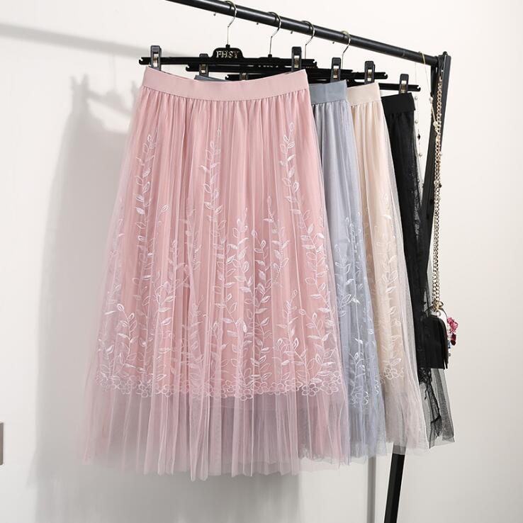 刺繍スカート ロングチュールスカート ミモレ丈スカート