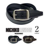 全2色 MICHIKO LONDON ミチコロンドン リアルレザー カラーステッチデザイン ベルト
