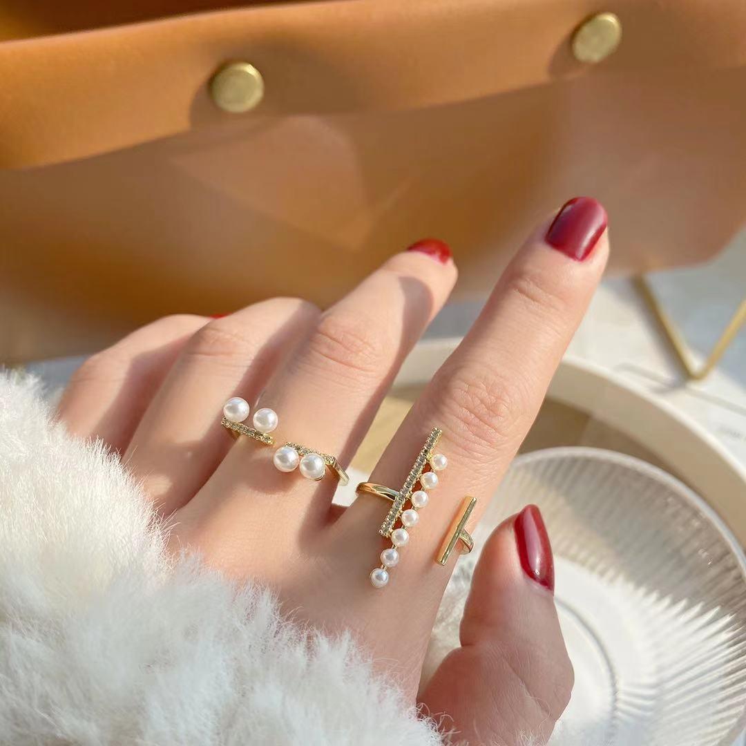 即納 国内検品発送  リング 指輪 開口指輪 フリーサイズ ゴールドメッキ ジルコニア 真鍮