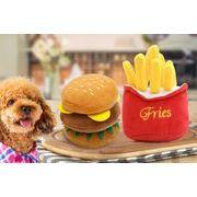 発声動物玩具 ハンバーガー  フライドポテト  ペットグッズ ペット  犬 ペット用おもちゃ