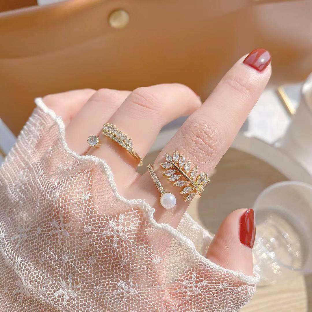 即納 国内検品発送 フリーサイズ  リング 指輪 開口指輪 ゴールドメッキ 真鍮 ジルコニア