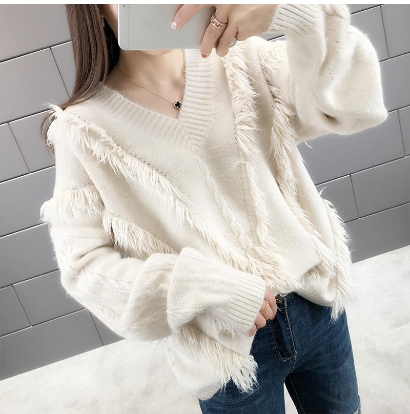 怠惰な風ニットセーター Vネック ルーズなニット 韓国ファッション