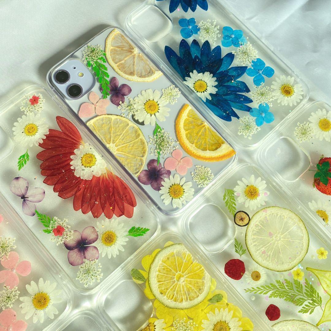5号/6号/7号★押しフルーツ iphoneケース いちご 押し花 ドライフラワー iphone12 pro ケース