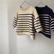 【KID】暖かい ストライプセーター Tシャツ 全2色