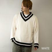 【2020新作】 ニットセーター メンズ Vネック ビッグシルエット 5ゲージ チルデンニットセーター