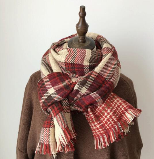 肩掛け スカーフ マフラー 襟巻き 秋冬新作 ファッション小物 チェック柄 レトロ