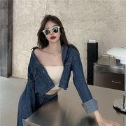 大好評レビュー続々 韓国ファッション  デニム 秋の服 ファッション 減齢 フォーリンスタイル スリム