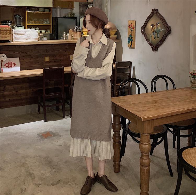 春秋 スカート ロング丈 ワイシャツ 長袖 ワンピース レディース ワンピース+ニットワンピース2点セット