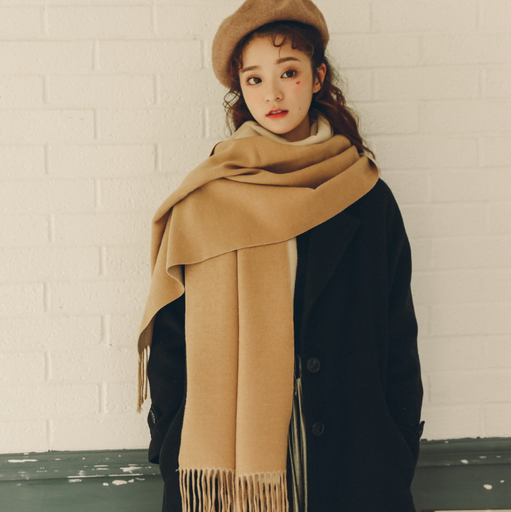 マフラー 冬季 両面 韓国スタイル 大きい肩掛け 無地 保温 ロングタイプ レディース ファッション小物