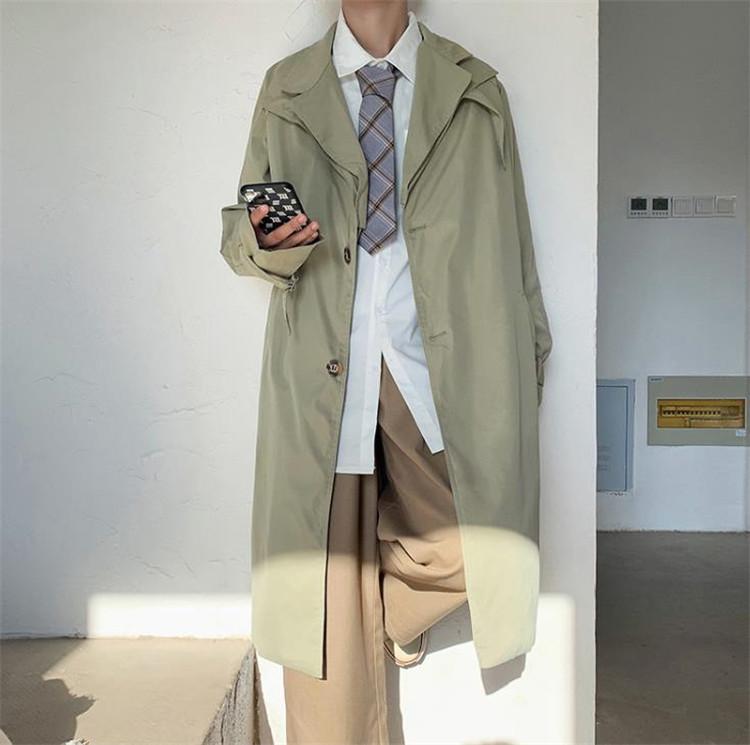 独特なシルエットに魅了される。 韓国ファッション トレンチコート 中・長セクション 秋 タイドブランド