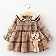 チェック 子供服 ワンピース+クマ 春秋 韓国ファッション キッズ ファッション