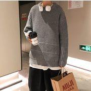 快適である 秋冬 セーター 韓国スタイル ラウンドネック シャツ ニット アウター トップス メンズ