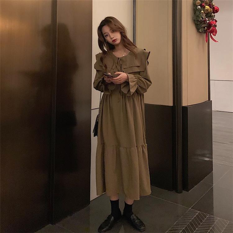 カラバリ豊富 シン 長袖 おしゃれな 大きいサイズ 快適である 人形の襟 バンディング ロングスカート