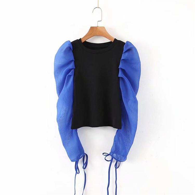 あたたかカジュアルアイテム 通勤する ニット シフォン 縫付 パフスリーブ ギャザリング Tシャツ