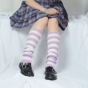 足首ウォーマー カバー レッグウォーマー 横縞 六色 6入 ニット 編み ソックス 靴下 防寒 冬用