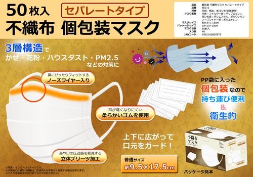 不織布個包装マスク セパレート包装タイプ 50枚入 TEC-6