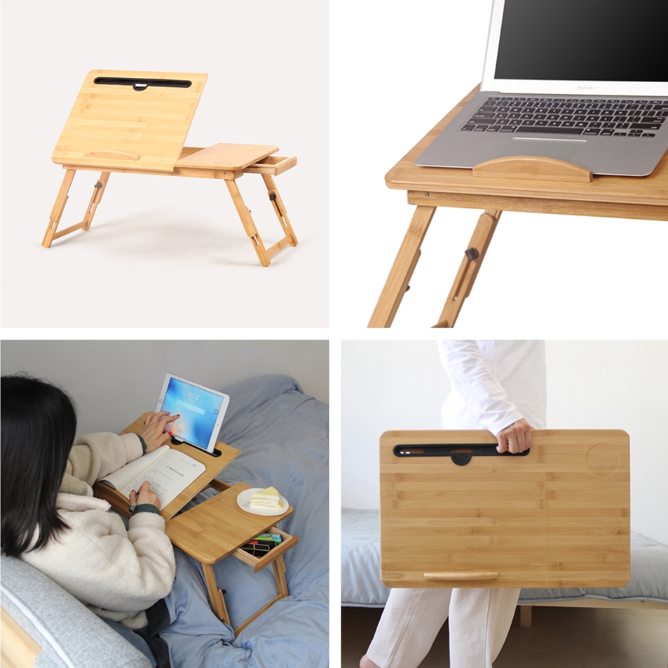 ノートパソコン デスク 折りたたみ式  竹製  ベッドテーブル タブレットホルダー機能 高さ調節可能 学習台