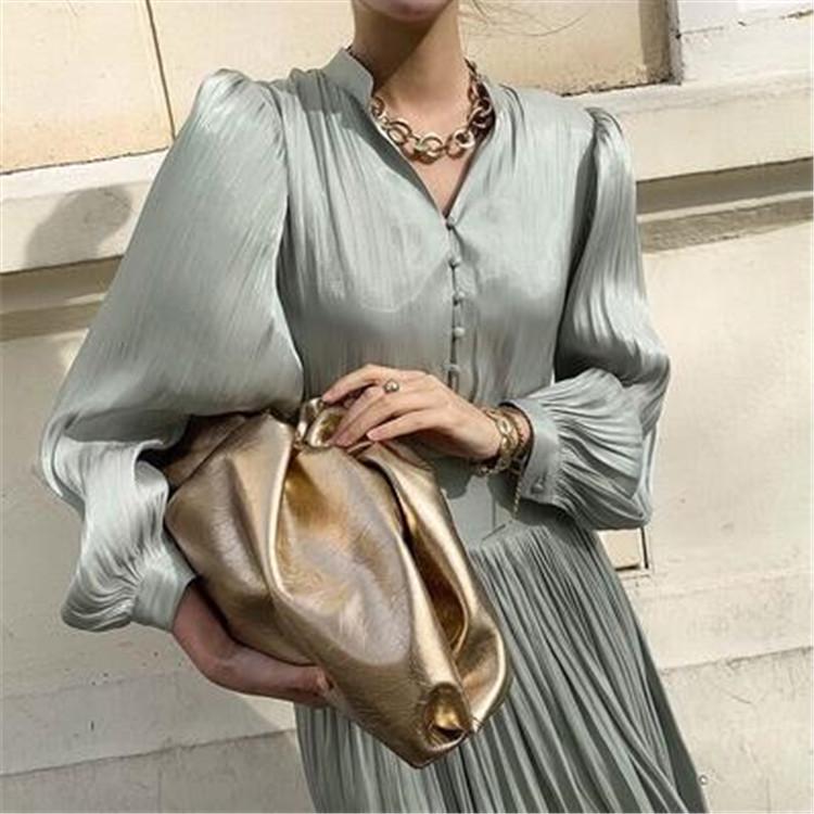 高級でセクシーなドレス 百掛け 気質 折り目 光沢 ファッション スタンドカラー 快適である ワンビース