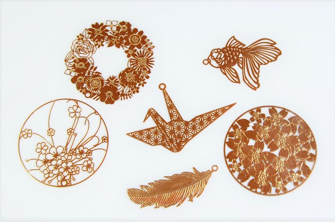 夏アクセサリー/メタルパーツ/銅製高品質基礎金具/和柄 桜 折り紙鶴 金魚パーツ 花のリース