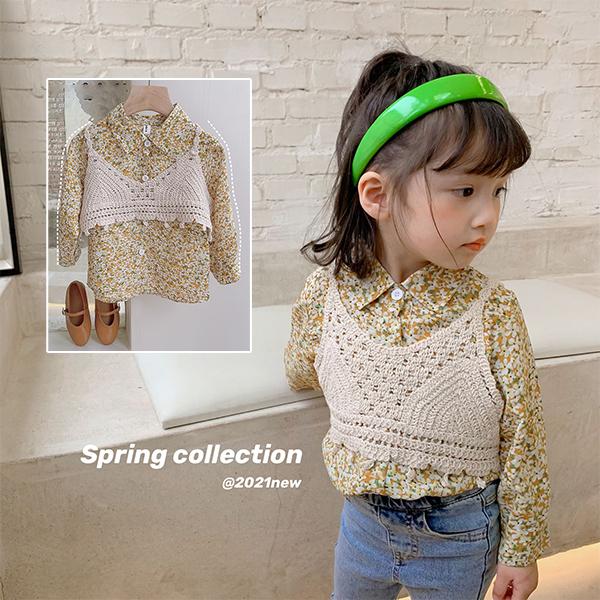 【KID】2021年韓国春新作 編みキャミソール+花柄シャツ2点セット