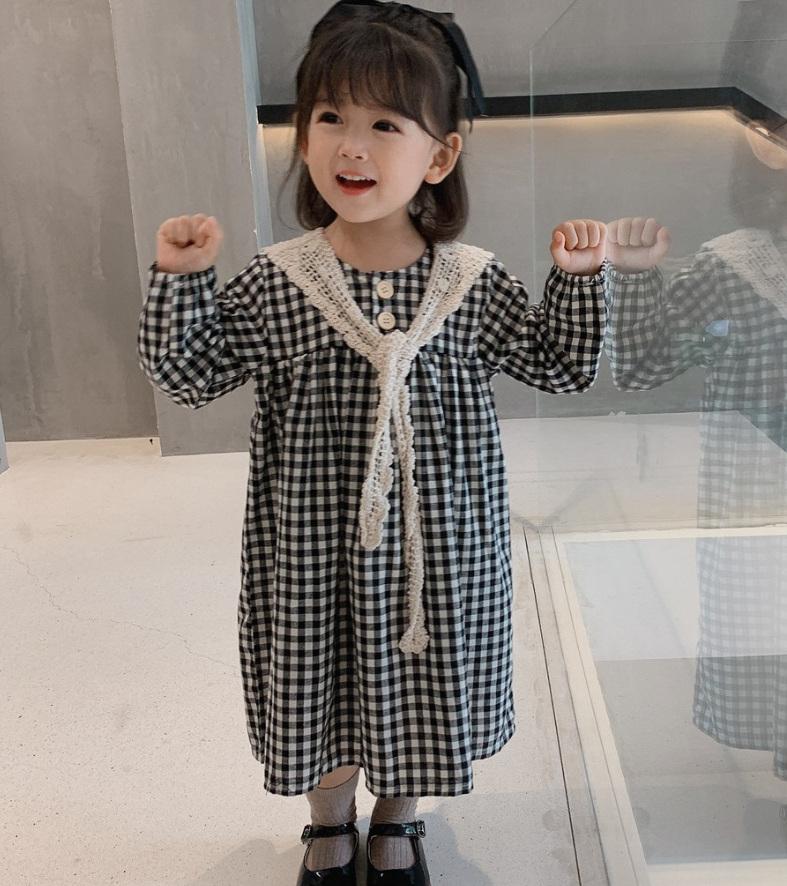 女の子 スカート チェック柄 肩掛け 長袖 ワンピース お姫様ドレス 春服 新作 子供服 3-8歳