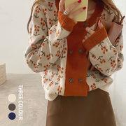 【Women】2021年新作 今はやりのレトロ小花柄セーター カーディガン 韓国ファッション
