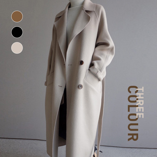 【Women】韓国ファッション CHIC気質 中・長セクション ウールコート 通勤 オフィシャル