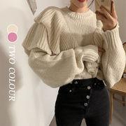 【Women】2021年新作 ニットセーター INSスタイル 木製の耳 ゆったり 韓国服