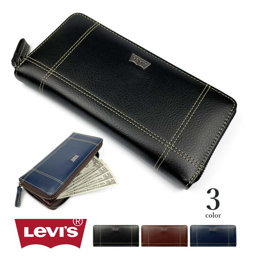 【全3色】Levis リーバイス ロゴプレートステッチデザインエコレザーラウンドファスナー 長財布