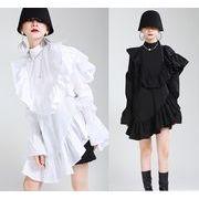 個性派ファッションオシャレフリルロングブラウスワンピースレディース通学通勤 新作春