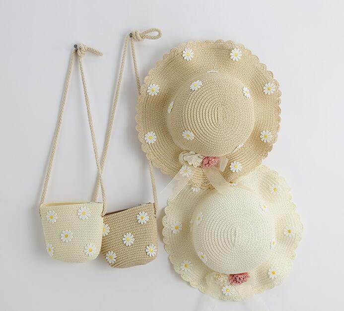 新品★新しいスタイル★★キッズ 可愛いハット 草編み帽子とバッグ分けて販売★3色