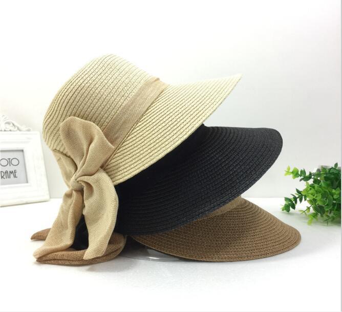 超人気レディースストローハット麦わら帽子日焼け止めカット紫外線対策小顔効果リボンパール付き