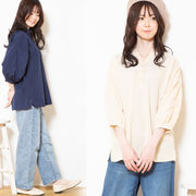 【2021春夏新作】スキッパーデザインシャツチュニック シンプル