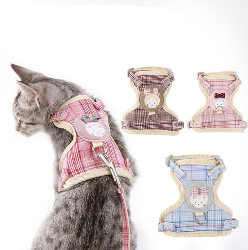 ねこ ハーネス おしゃれ 小型猫用 中型用 猫ハーネスリードセット 猫のハーネスリード