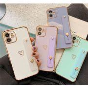 メッキ加工iPhoneケース スタンド機能 ハート  iphone12 iphone11 TPUケース★SNSでも大人気